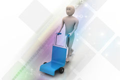Man with trolley for delivery Stock Image
