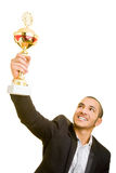 Man with trophy Royalty Free Stock Photos