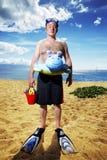 Man at tropical beach royalty free stock photo