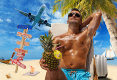 Man on the tropical beach Stock Photos