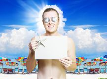 Man at tropical resort in vacation paradise Stock Photography
