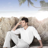 Man in tropics Stock Photo