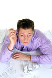 Man with troubles at work Stock Photography