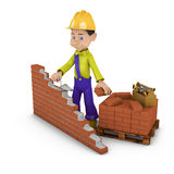 Man with a trowel. A man with a trowel building a brick wall Royalty Free Stock Photos