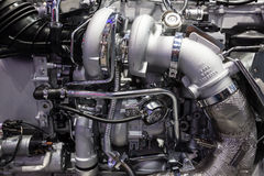 MAN truck diesel engine detail Stock Photos