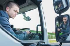 Man truck driver in car. Man truck driver in the car Royalty Free Stock Images