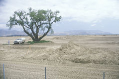 A man and a truck in a land development area in Ventura, California Stock Photos