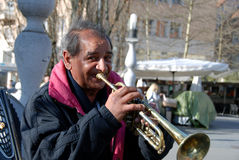 Man with a trumpet Royalty Free Stock Photos