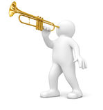 Man with Trumpet (clipping path included) Royalty Free Stock Images