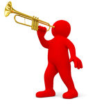 Man with Trumpet (clipping path included) Royalty Free Stock Photography