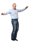 Man try to balance himself Stock Image