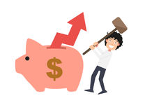 Man try to break piggy bank illustration Royalty Free Stock Photos