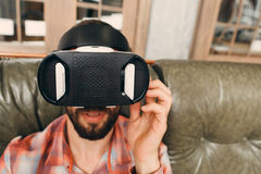 Man try vr glasses first time, close-up Stock Photo