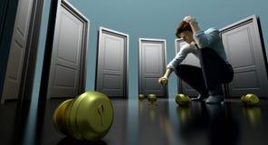 Doors of opportunity. Man trying find the right doorknobs to open doors Stock Image