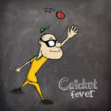 Man trying to catch the ball for Cricket fever. Royalty Free Stock Photo