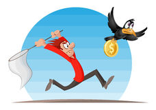 Man trying to catch crow with dollar coin. With a butterfly net. Cartoon styled vector illustration. Elements is grouped and divided into layers Stock Images