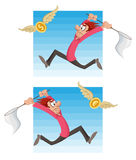 Man trying to catch flying money. dollar coin or euro coin. Man trying to catch flying money dollar coin or euro coin with a butterfly net. Cartoon styled vector Stock Image