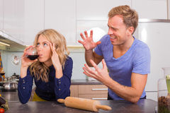 Man trying to explain himself. To his wife royalty free stock photography