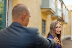 Man trying to get acquainted with a woman Royalty Free Stock Photo