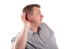 Man trying to hear you Stock Photos