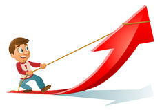 Man trying to pull up a growth arrow. Cartoon styled vector illustration. Elements is grouped. No transparent objects Royalty Free Stock Photo