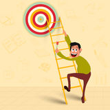 Man trying to reach his goal. Illustration of a man holding a dart, trying to reach his success goal for Business concept Royalty Free Stock Photos