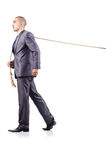 Man in tug of war concept. On white Royalty Free Stock Image