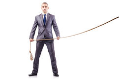 Man in tug of war concept. On white Royalty Free Stock Photos