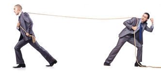 Man in tug of war concept. On white Royalty Free Stock Photo