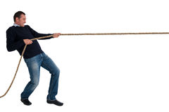 Man tug of war pulling rope isolated Royalty Free Stock Photography