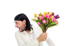 Man with tulip flowers Royalty Free Stock Images