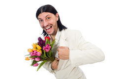 Man with tulip flowers isolated on white Royalty Free Stock Photo