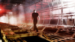 Man In The Tunnel. A man walking in a futuristic tunnel. High quality 3D illustration Royalty Free Stock Photos