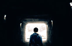 Man in tunnel Royalty Free Stock Photos