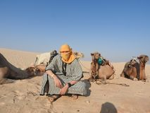 A man in a turban, face covered, with a camel in the Sahara desert.  royalty free stock photo