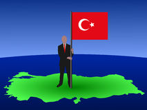Man with Turkish flag Royalty Free Stock Photography