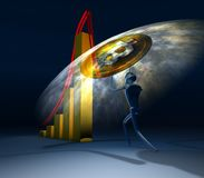 Man turning the arrow on the upside. Concept of bitcoin crisis m. Anagement Royalty Free Stock Photography