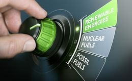 Energy Transition, Renewable Energies. Man turning an energy transition button to switch from fossil fuels to renewable energies. Composite image between a hand Stock Photo