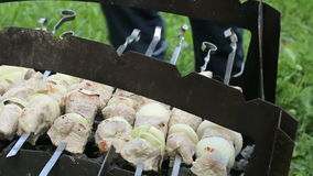 The man turns the skewers with meat on the grill. Shish kebab in the nature, video footage of a barbecue. With camera movement on