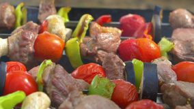 Man turns two skewers kebabs, barbeque put on. A man turns two skewers with delicious kebabs, barbeque and put on brazier stock video