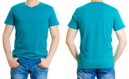 Man in turquoise t-shirt. Stock Photos