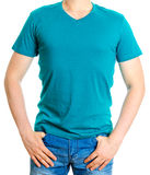 Man in turquoise t-shirt. Stock Image