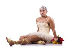 The man in tutu performing ballet dance Royalty Free Stock Image