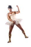 Man in tutu performing ballet dance Stock Images