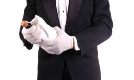 Man in Tuxedo with Champagne Bottle Royalty Free Stock Photography