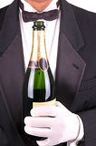Man in Tuxedo with Champagne Bottle close Stock Image