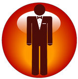 Man in tuxedo icon on button Stock Image