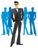 Man in tuxedo in a party. Vector illustration of an adult male wearing a tuxedo in party crowd stock illustration