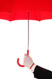 Man in Tuxedo with Red Umbrella Royalty Free Stock Photography