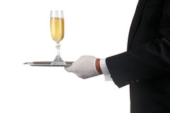 Man in Tuxedo Serving Champagne. Waiter in Tuxedo Serving Champagne Glass isolated over white Stock Images